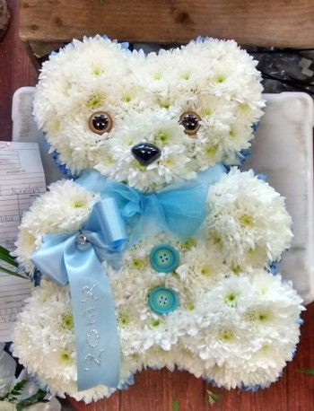 Blue and white mini teddy bear