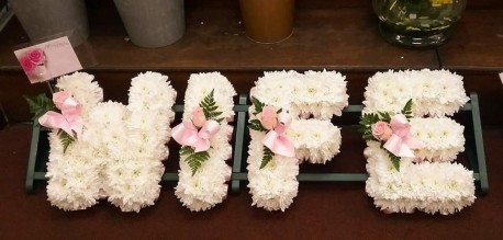 Floral letters pink and white
