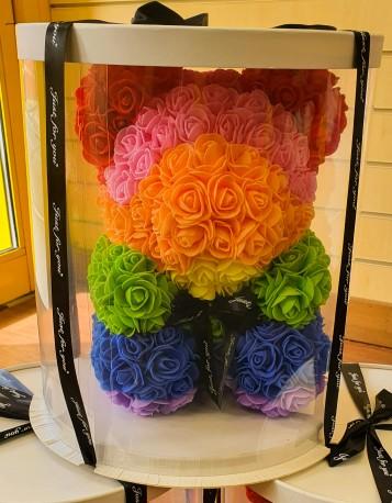 Rainbow rose foam Teddy Bear