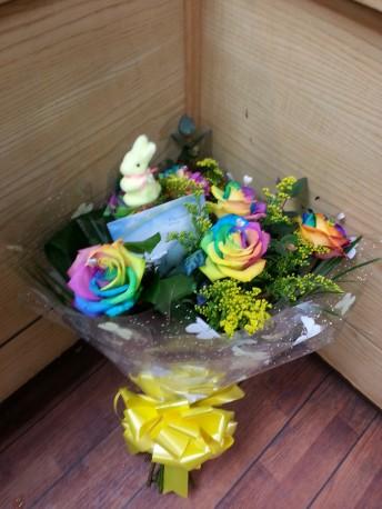 Spray of rainbow roses
