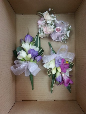 freesia corsage and wrist band