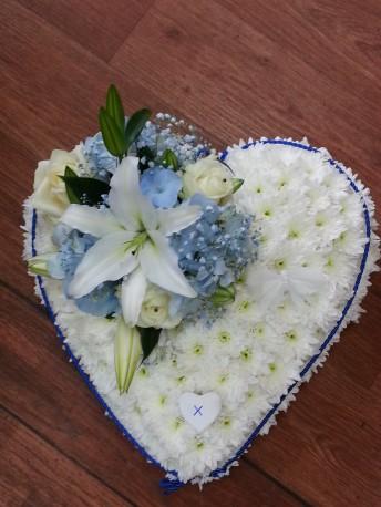 blue edge white heart