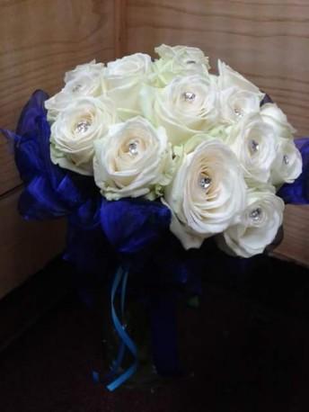 Blue and white brides bouquet