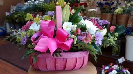 pink basket arrangement
