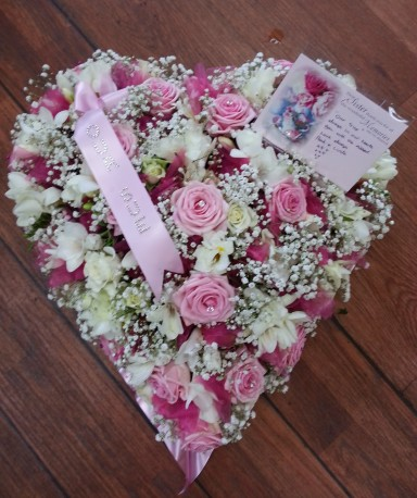 pink roses and white freesia heart