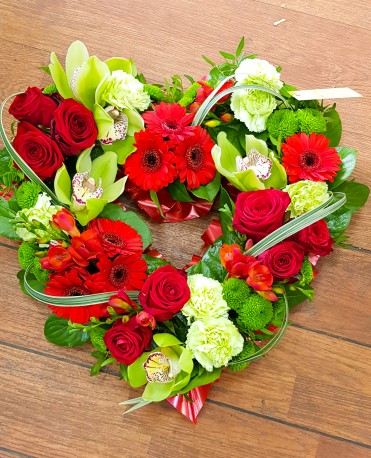 Green and Res floral heart