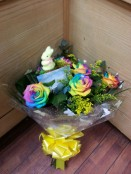 Spray of rainbow roses