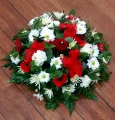 Funeral posy red and white