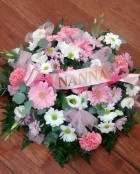 pink and white named posy