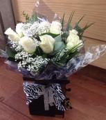 Zebra bow black floral box