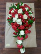 Bridal red and white pearshape